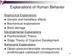 explanations of human behavior