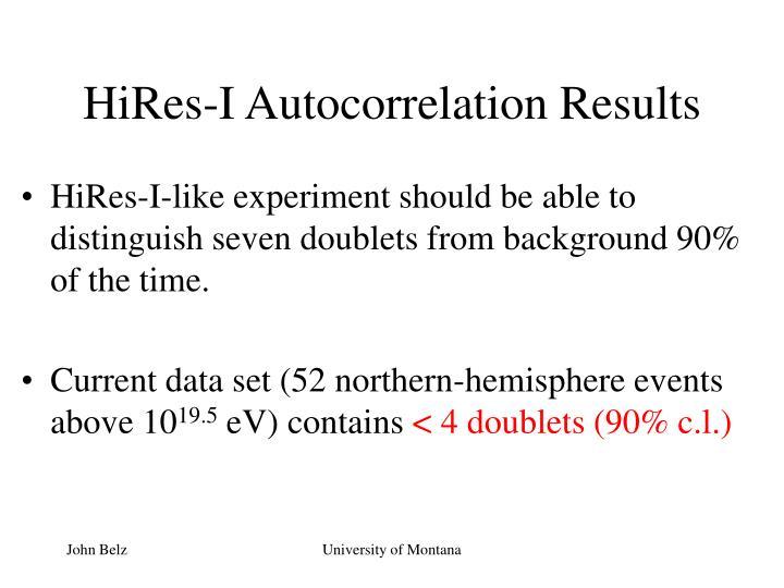 HiRes-I Autocorrelation Results