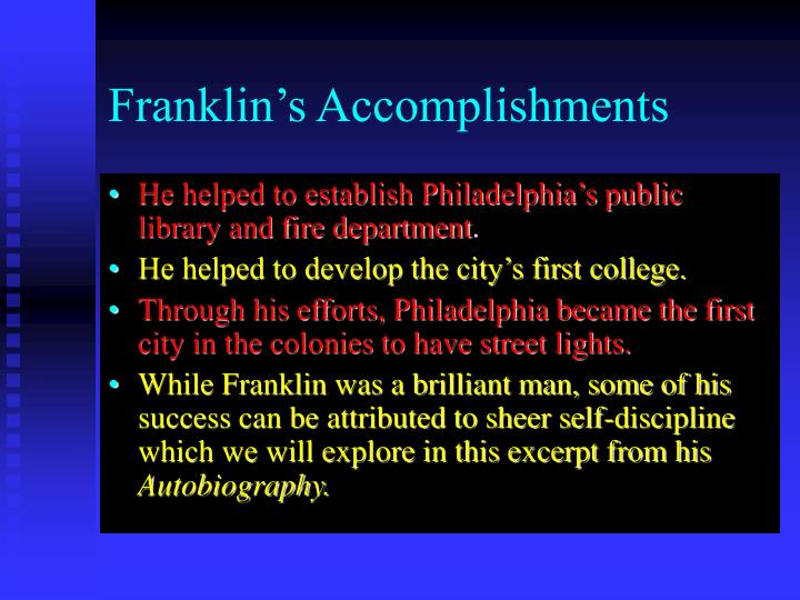 Franklin's Accomplishments