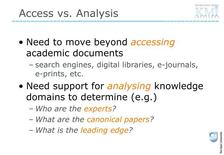 Access vs. Analysis