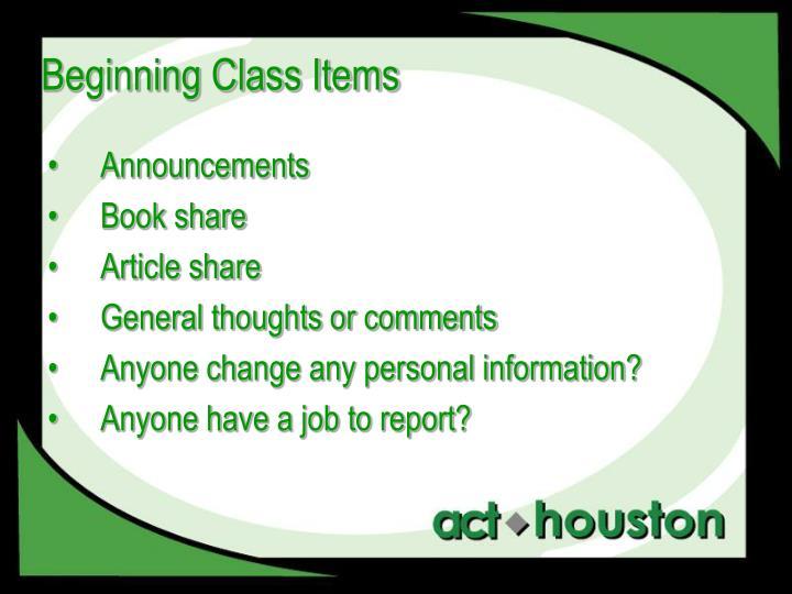 Beginning Class Items