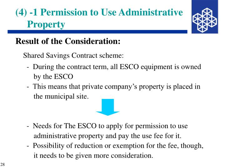 (4) -1 Permission to Use Administrative Property