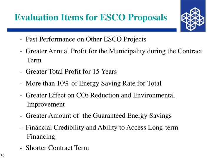 Evaluation Items for ESCO Proposals
