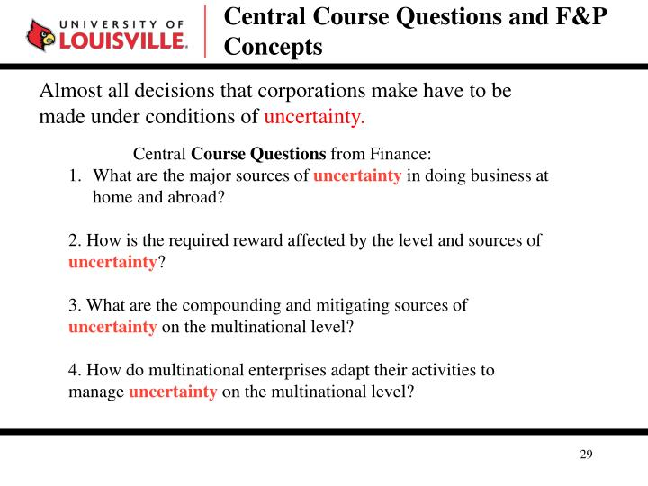 Central Course Questions and F&P Concepts