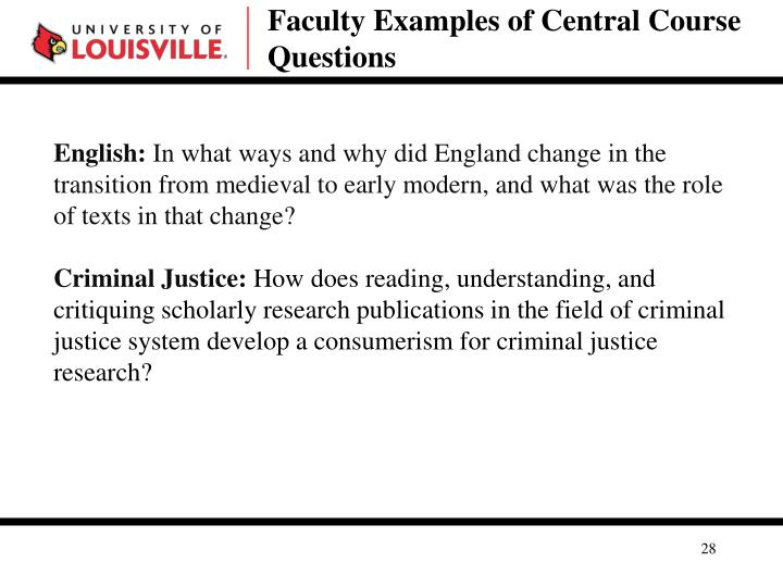 Faculty Examples of Central Course Questions