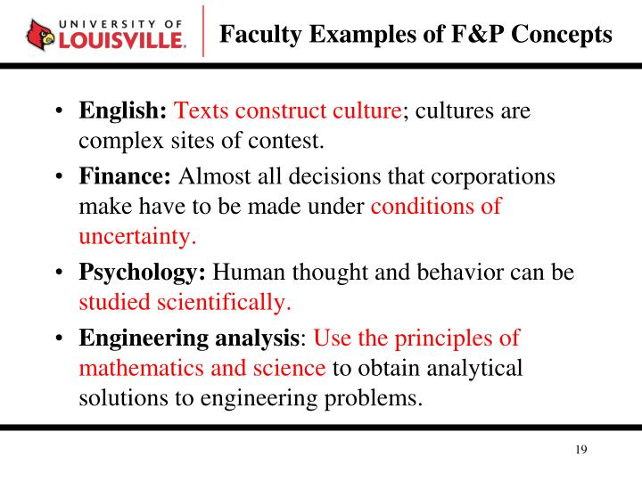 Faculty Examples of F&P Concepts