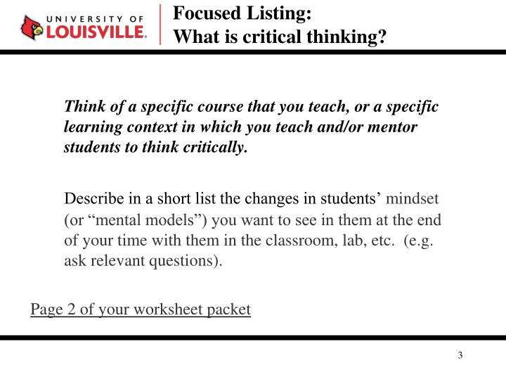 Focused listing what is critical thinking