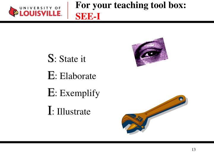 For your teaching tool box: