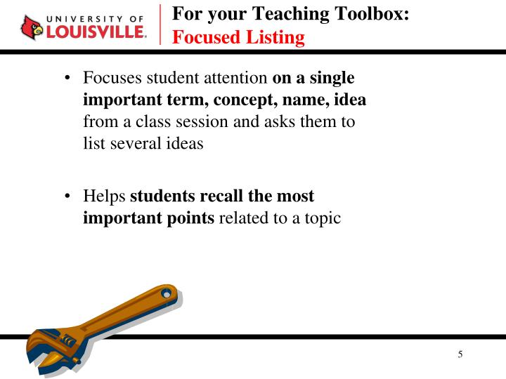 For your Teaching Toolbox: