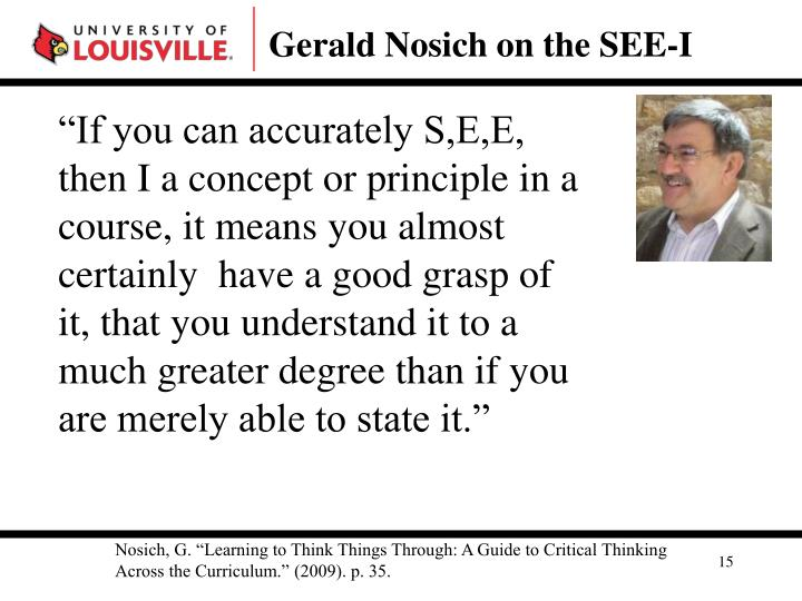 Gerald Nosich on the SEE-I