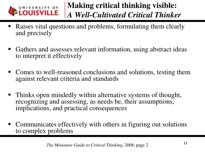 Making critical thinking visible: