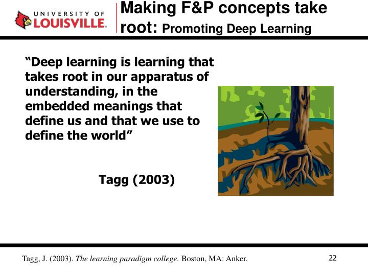 Making F&P concepts take root: