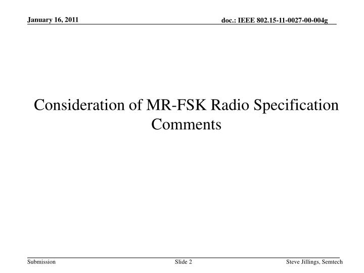 Consideration of MR-FSK Radio Specification Comments