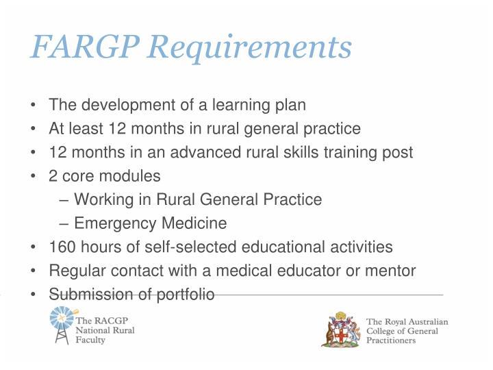 FARGP Requirements