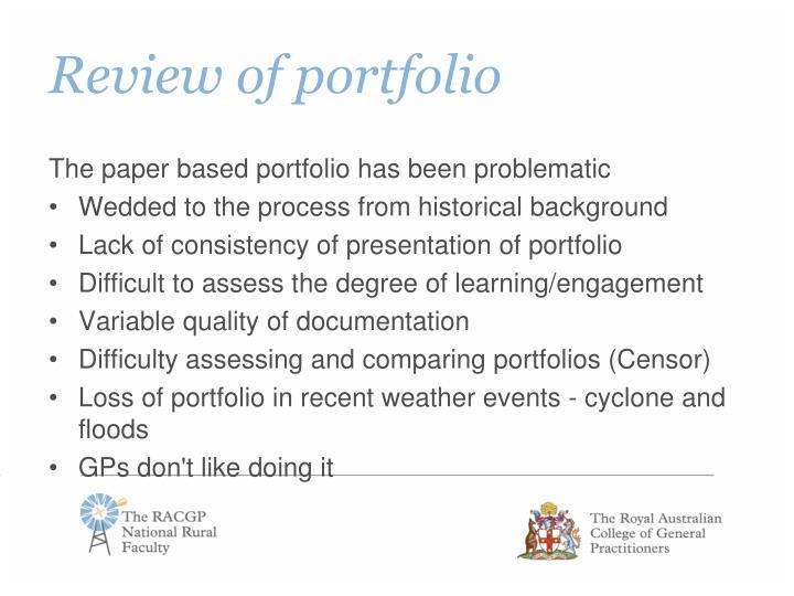 Review of portfolio