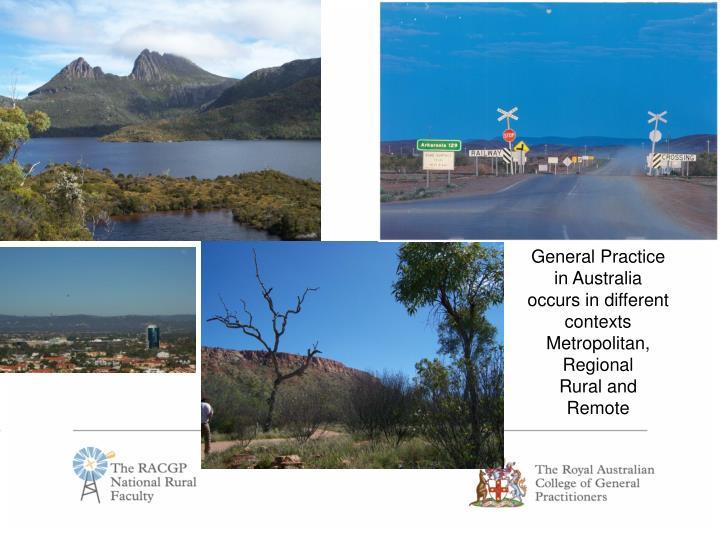 General Practice in Australia occurs in different contexts