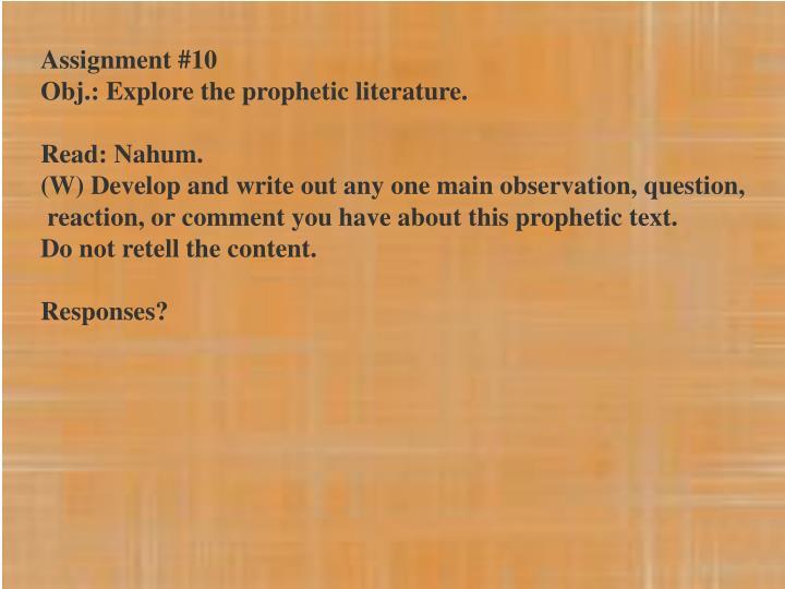 Assignment #10