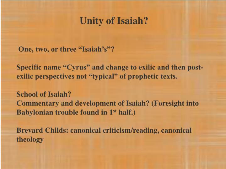 Unity of Isaiah?