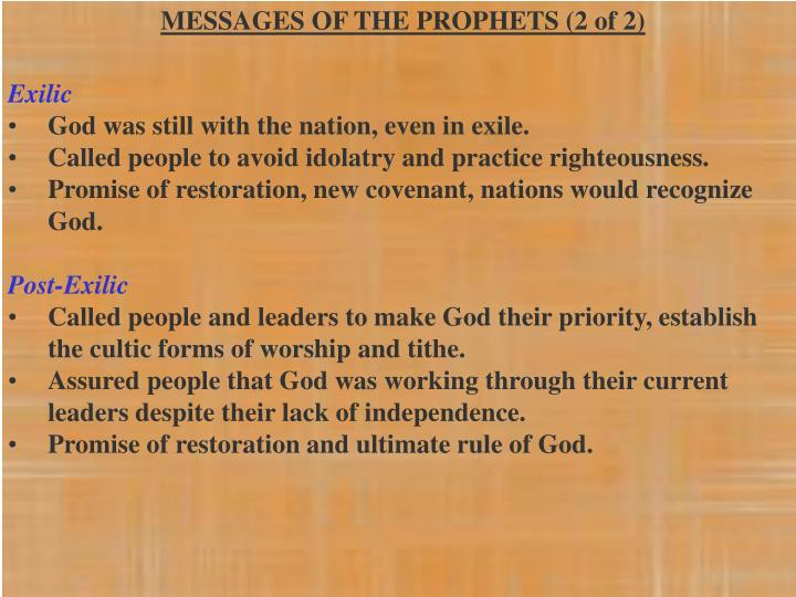 MESSAGES OF THE PROPHETS (2 of 2)