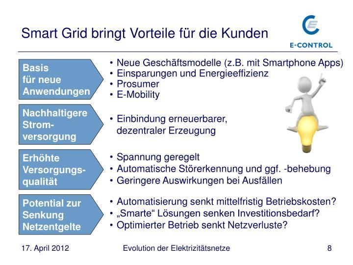 Smart Grid bringt Vorteile für die Kunden
