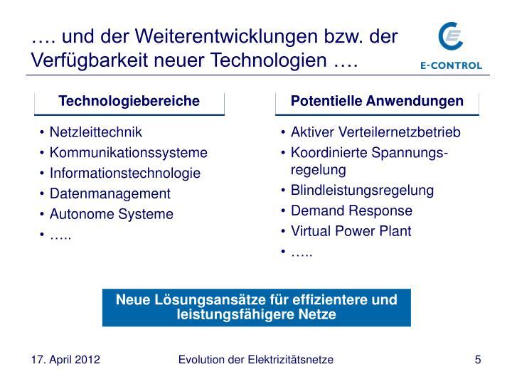 …. und der Weiterentwicklungen bzw. der Verfügbarkeit neuer Technologien ….
