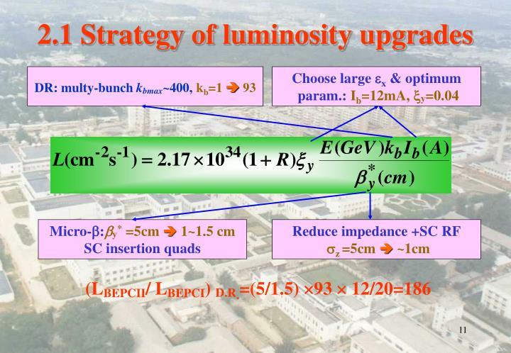 2.1 Strategy of luminosity upgrades