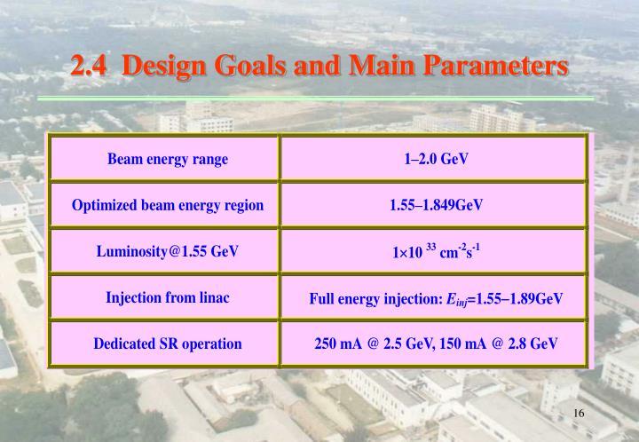 2.4  Design Goals and Main Parameters