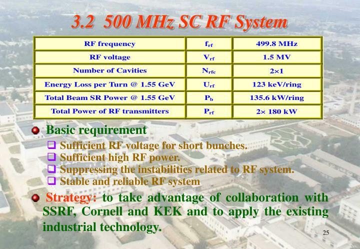 3.2  500 MHz SC RF System
