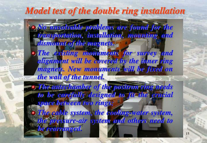Model test of the double ring installation