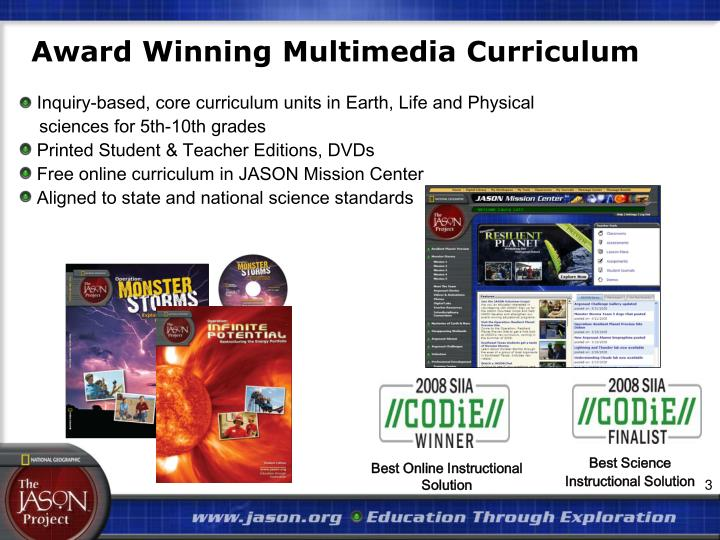 Award Winning Multimedia Curriculum