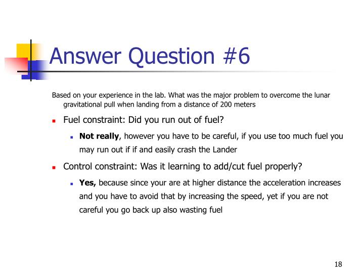 Answer Question #6