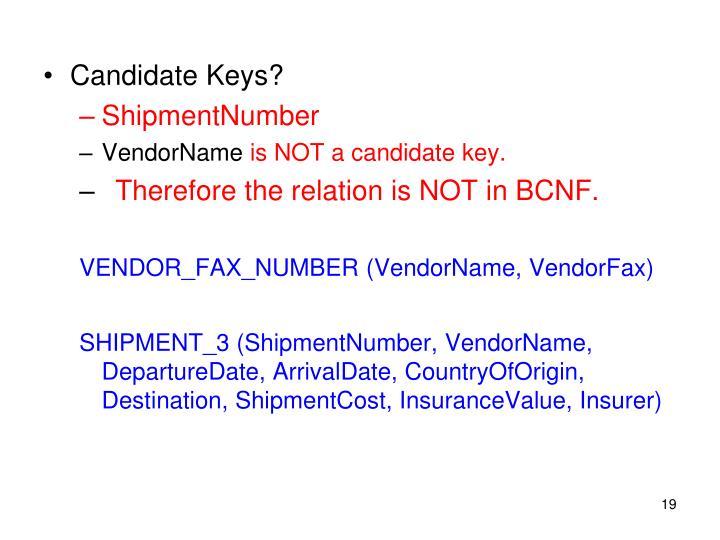 Candidate Keys?