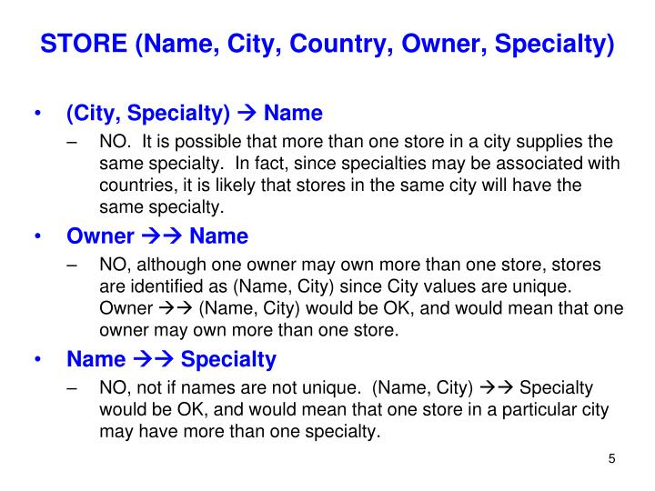 STORE (Name, City, Country, Owner, Specialty)
