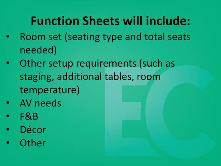 Function Sheets will include: