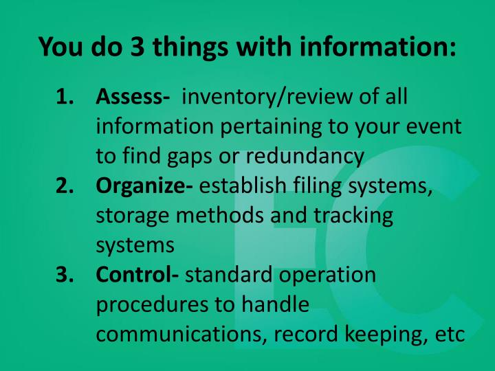 You do 3 things with information:
