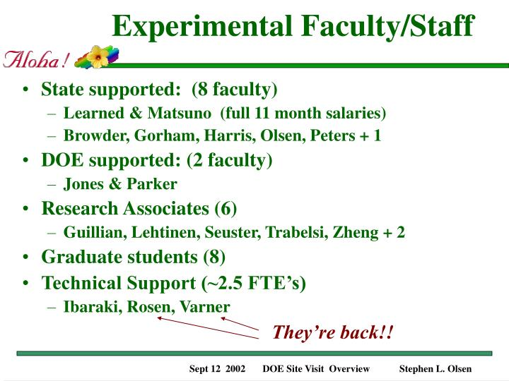 Experimental Faculty/Staff
