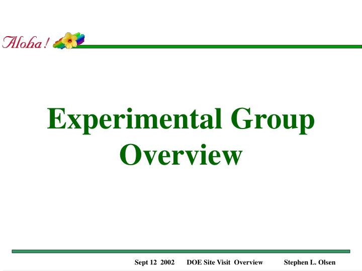 Experimental group overview