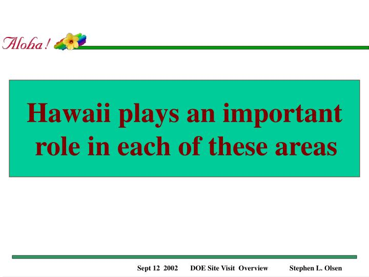 Hawaii plays an important