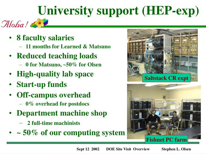 University support (HEP-exp)