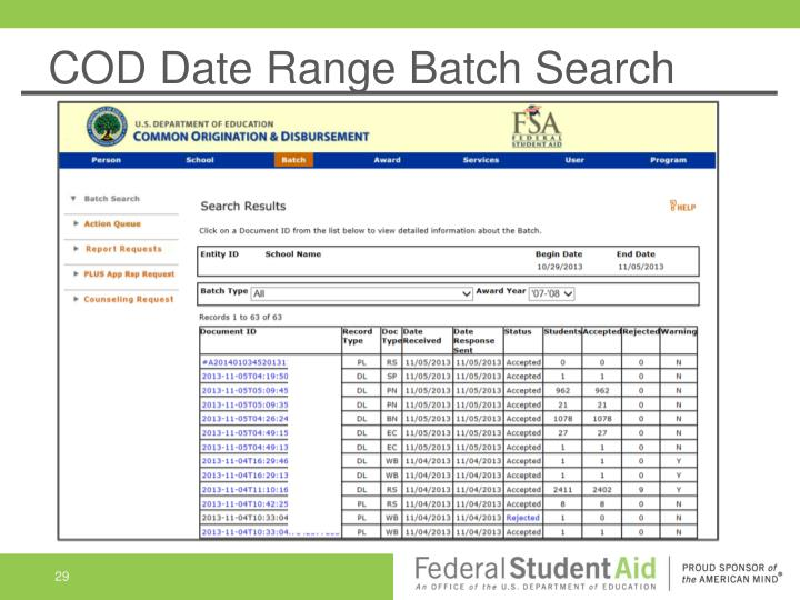 COD Date Range Batch Search