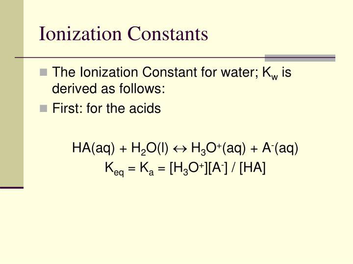 Ionization Constants