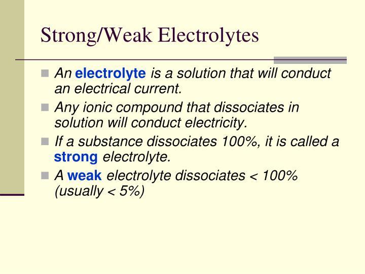 Strong/Weak Electrolytes