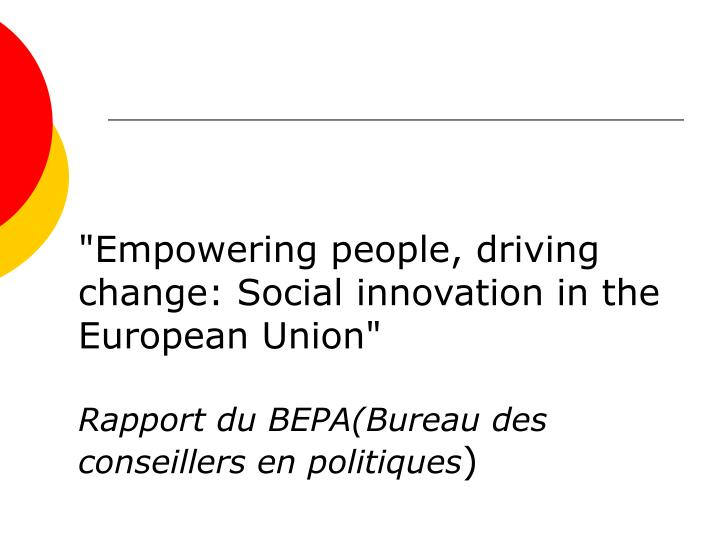 """Empowering people, driving change: Social innovation in the European Union"""