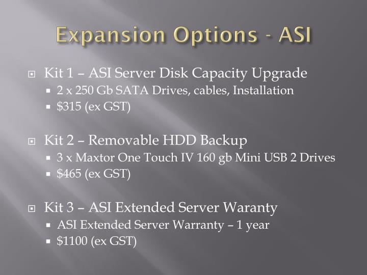 Expansion Options - ASI
