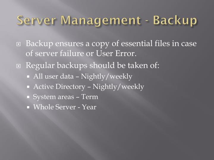 Server Management - Backup