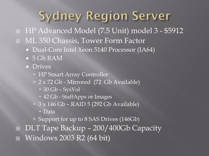 Sydney Region Server