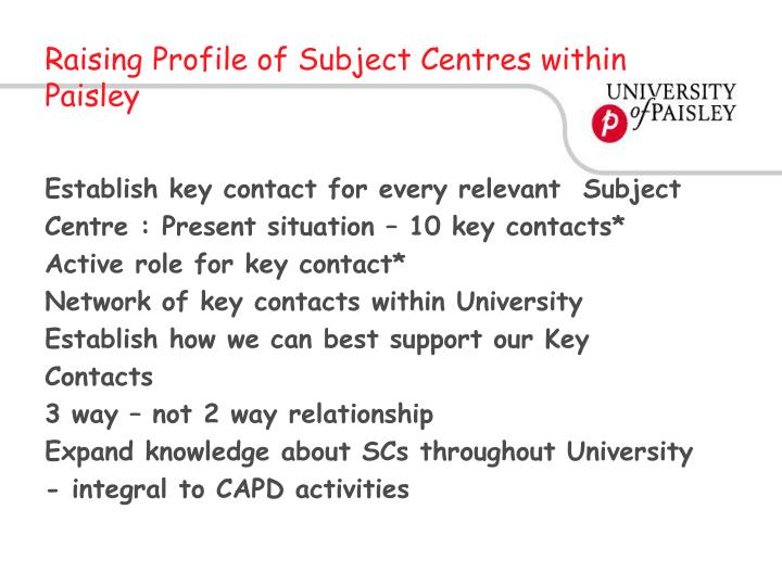 Raising Profile of Subject Centres within Paisley