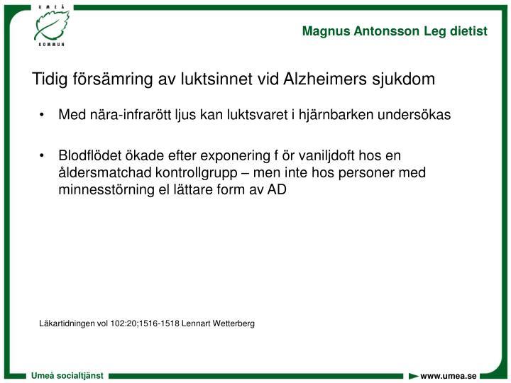 Tidig försämring av luktsinnet vid Alzheimers sjukdom
