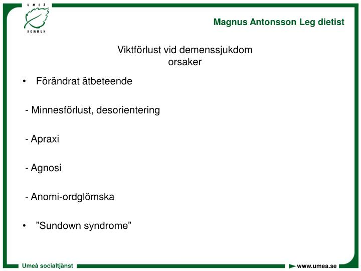 Viktförlust vid demenssjukdom