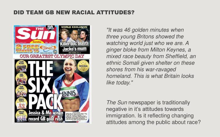 DID TEAM GB NEW RACIAL ATTITUDES?